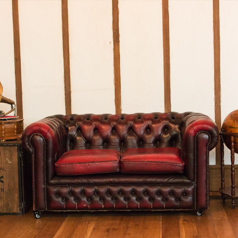 Chesterfield Oxblood 2 Seater - Aged