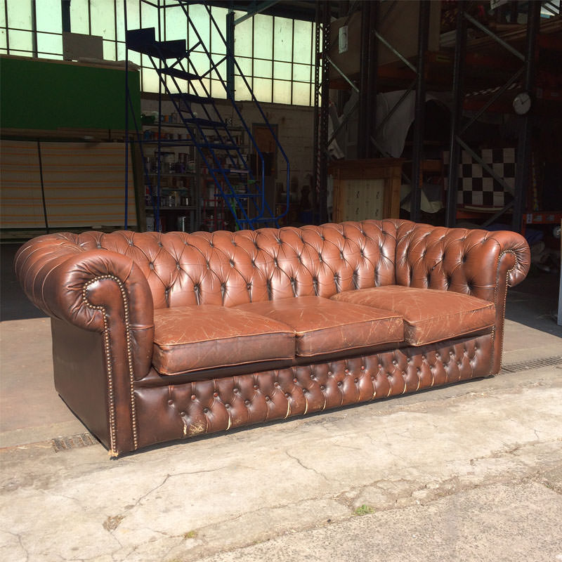 Brown Leather Chesterfield 3 Seater Sofa - worn with new seats