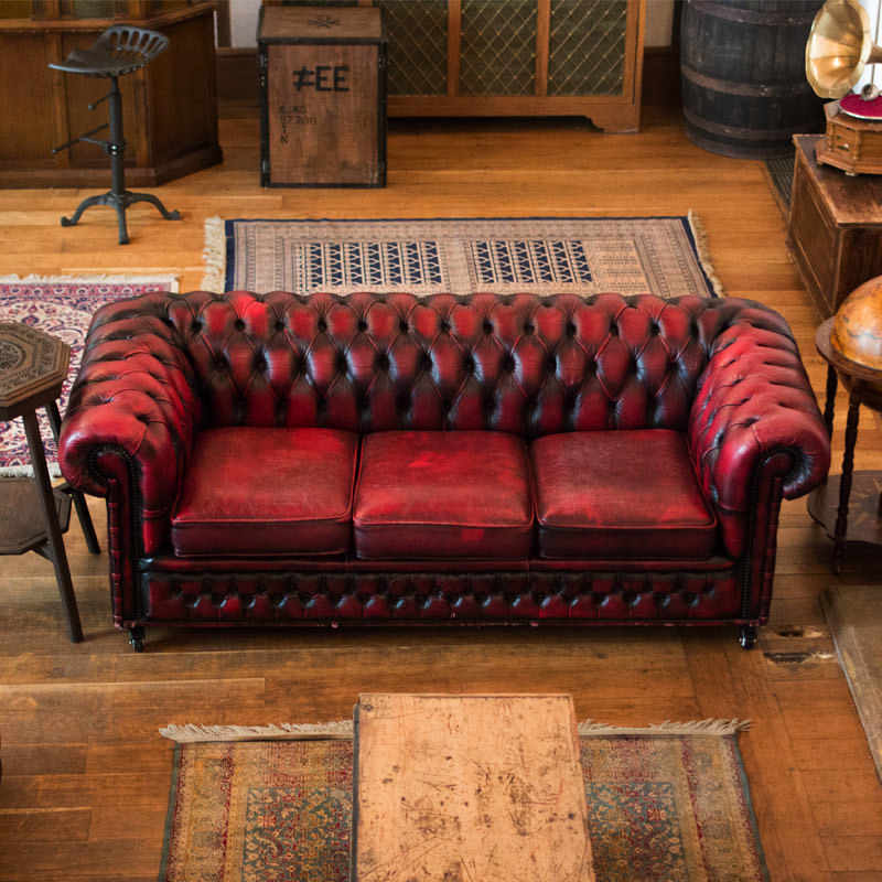 Chesterfield Oxblood 3 Seater - Aged