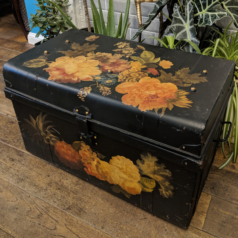 Botanical Black Tin Trunk