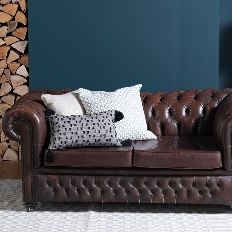 Brown Leather Chesterfield Two Seater Sofa - worn with new seats 4