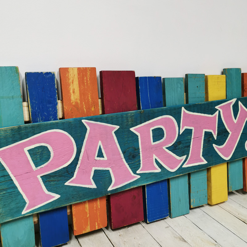 Colourful Pallet Party Sign 2