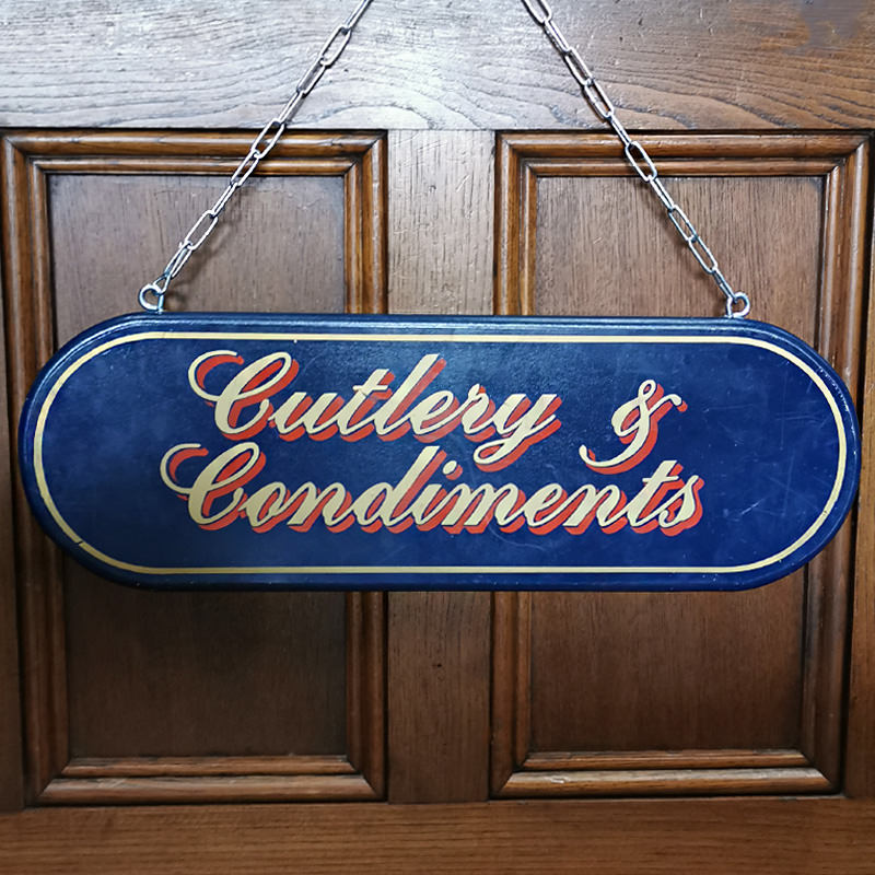 Cutlery and Condiments Sign