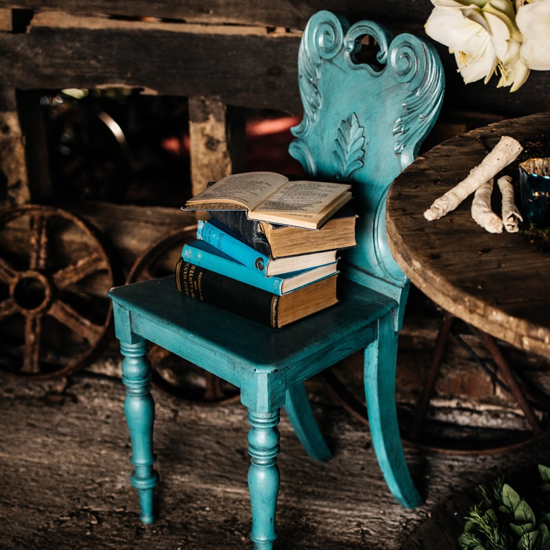 Dainty Wooden Blue Chair  4