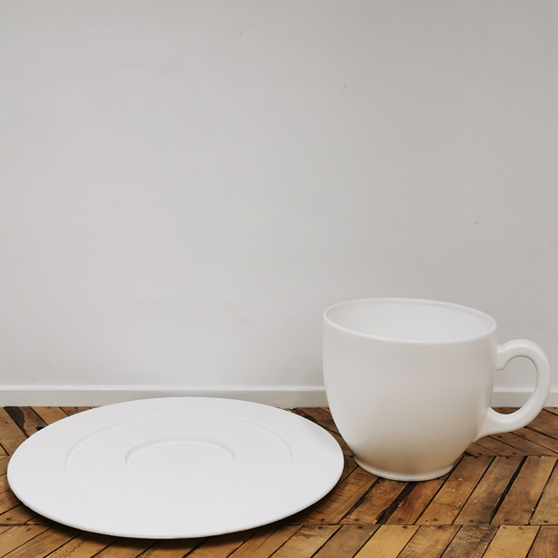 Giant White Teacup and Saucer  2