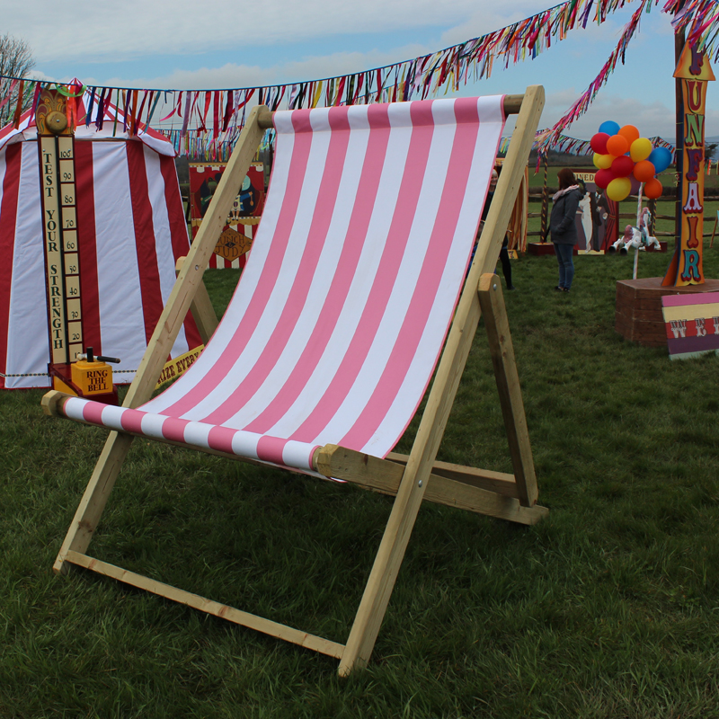 Pink & White Striped Giant Deckchair