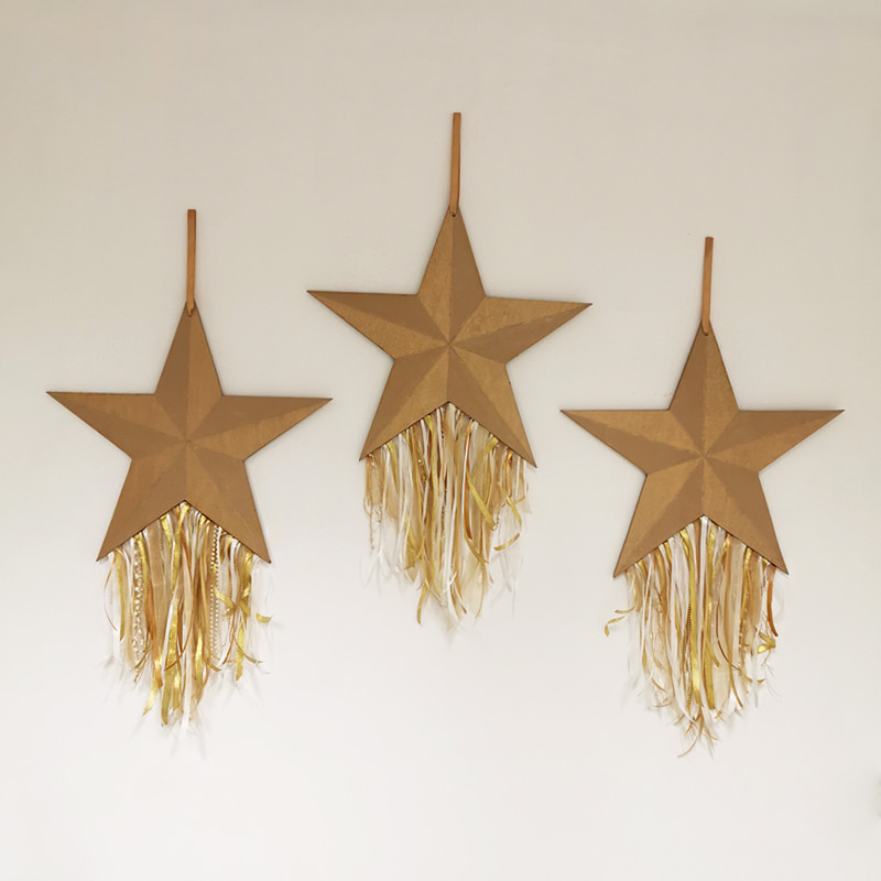 Gold Wooden Hanging Star 2