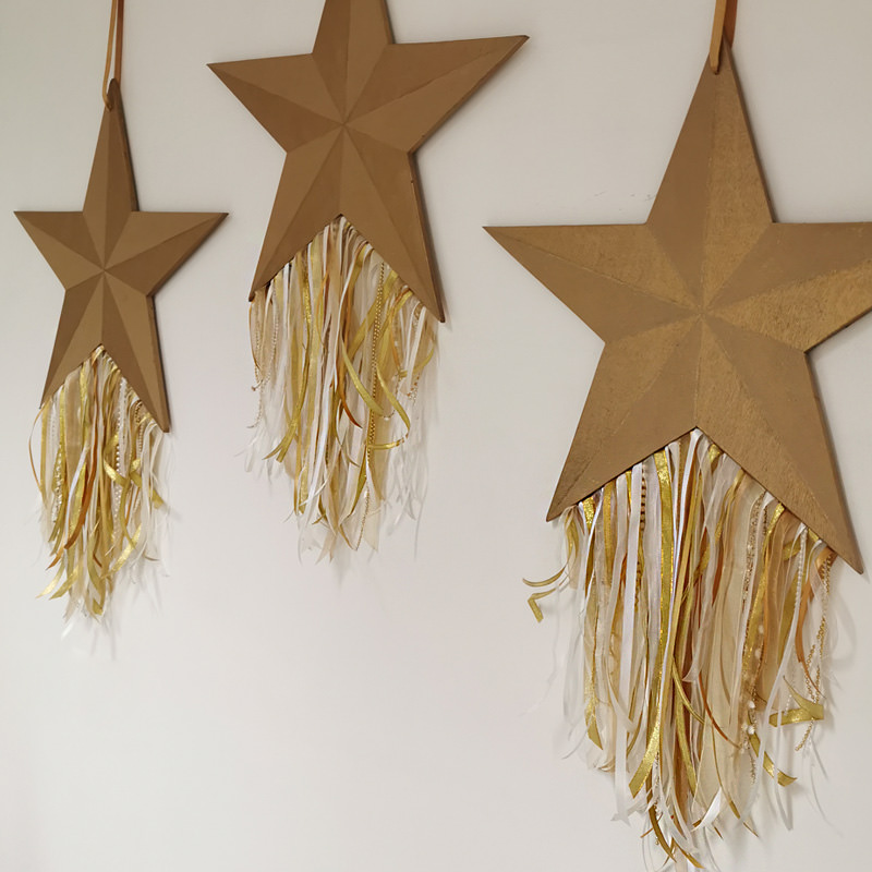 Gold Wooden Hanging Star 3