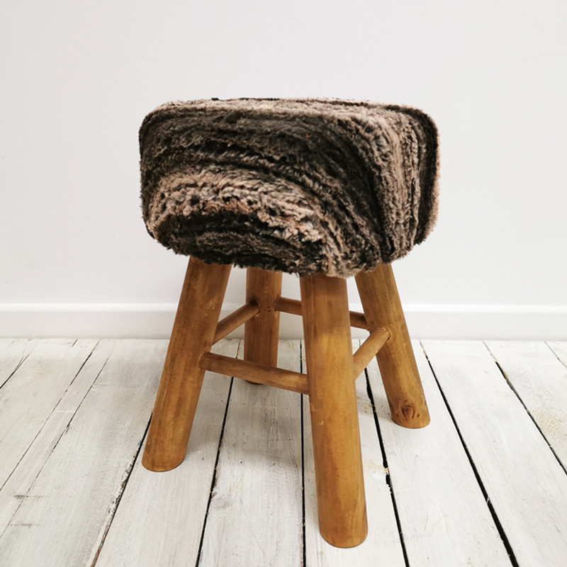 Nordic Faux Fur Stool 2