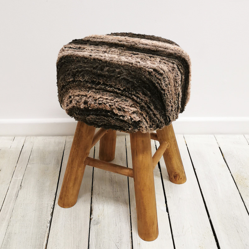 Nordic Faux Fur Stool