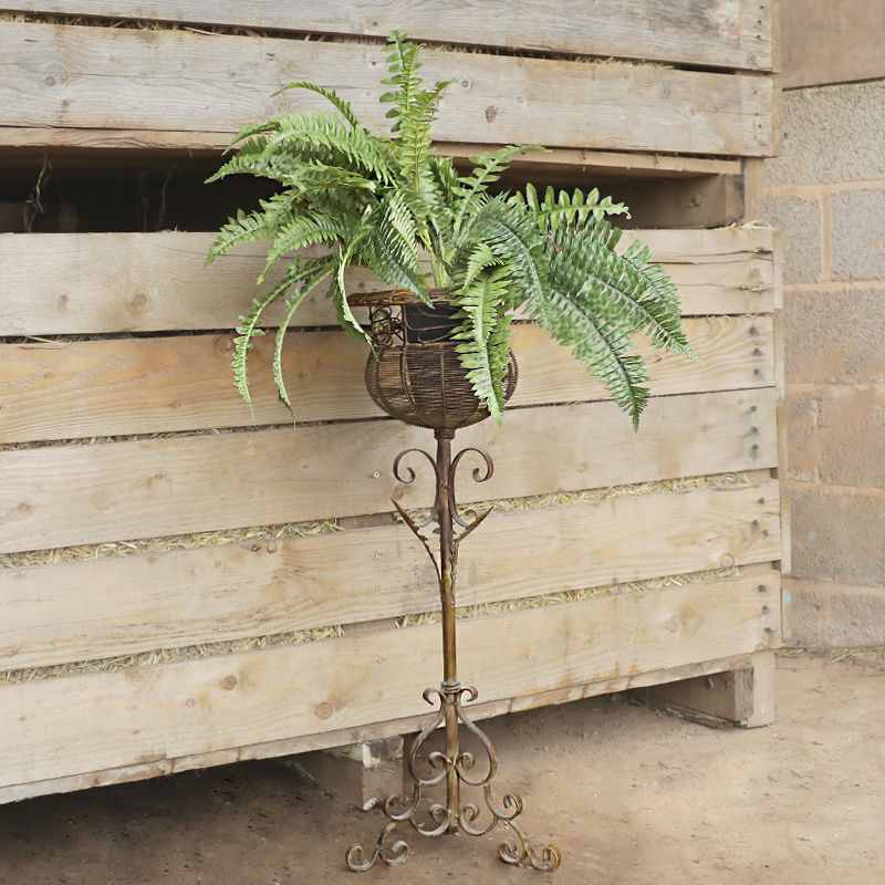 Ornate Metal Plant Stand and Artificial Fern