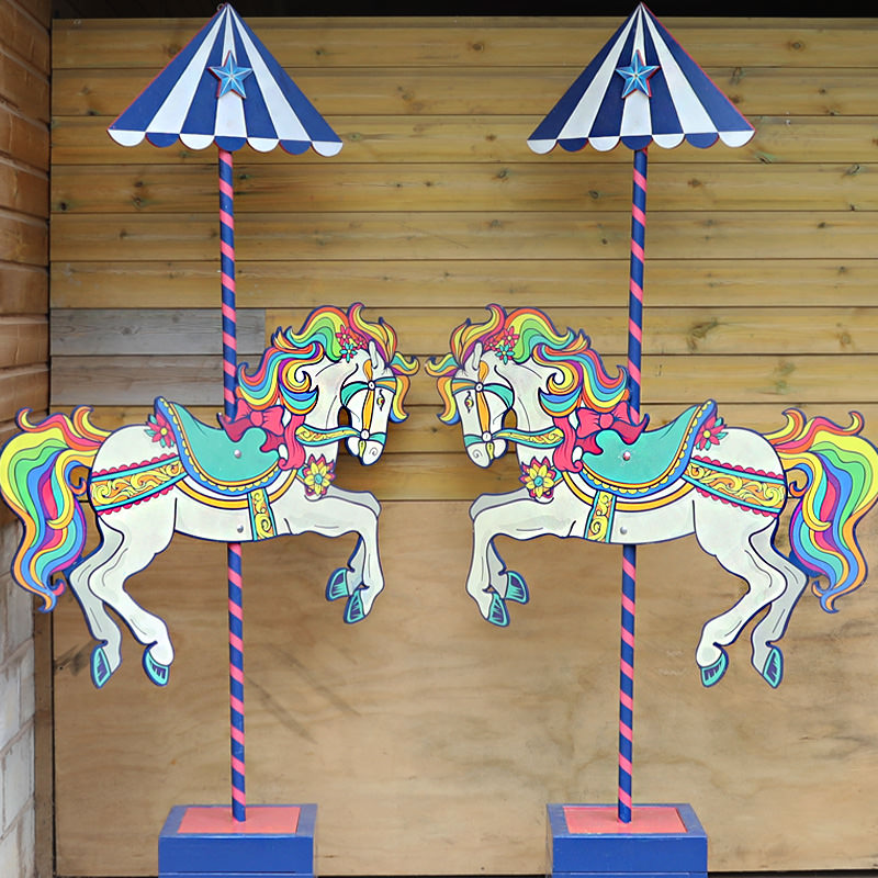 PAIR of Carousel Horse Entrance Poles
