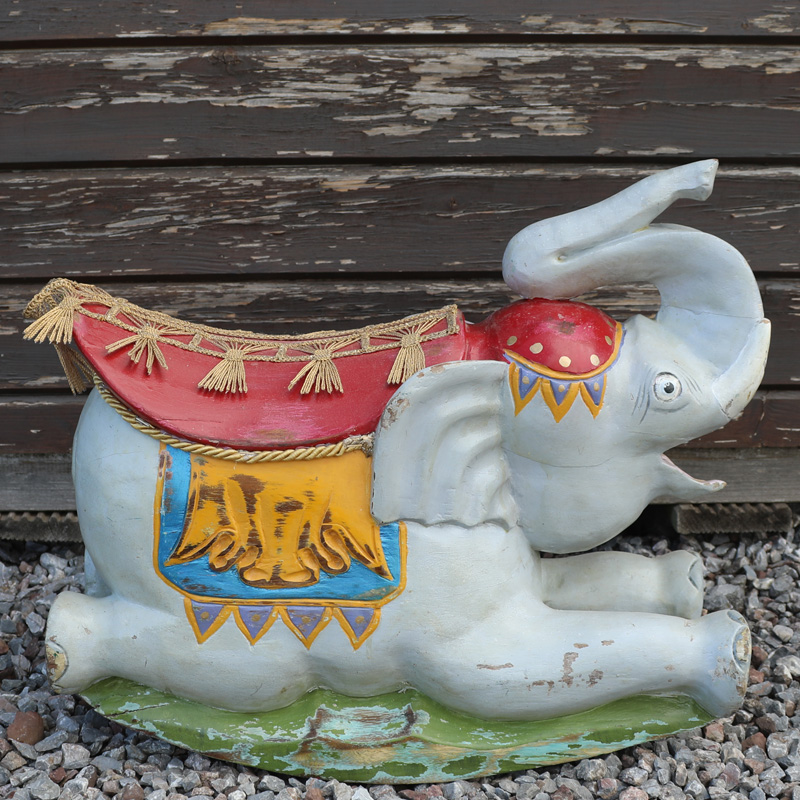 Wooden Circus Elephant Carving