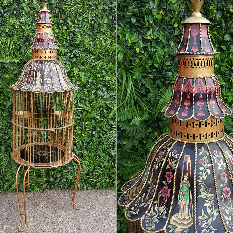 Towering Oriental Gold Bird Cage