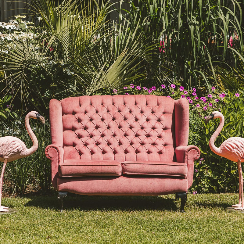 Pink 2 Seater Wingback Sofa