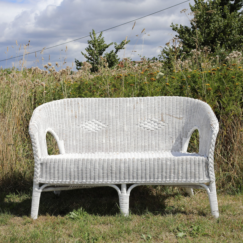 White Wicker 2 Seater Sofa