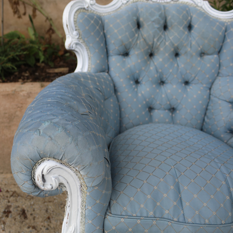 Light Blue Patterned Emily Armchair with worn arms  2