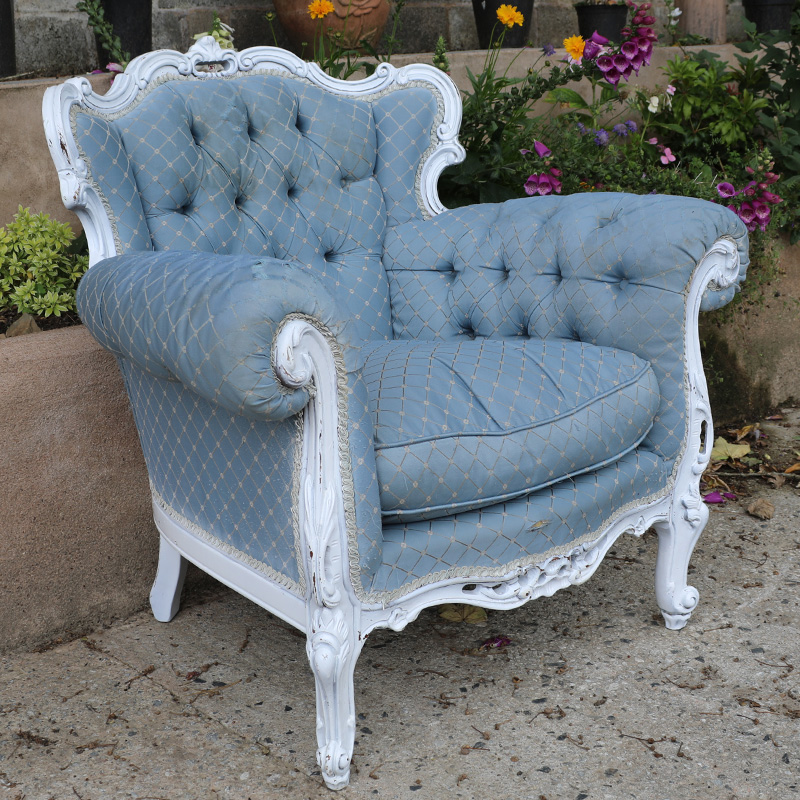 Light Blue Patterned Emily Armchair with worn arms  3