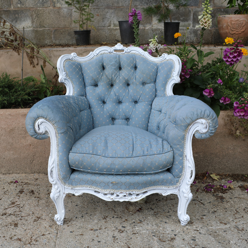 Light Blue Patterned Emily Armchair with worn arms