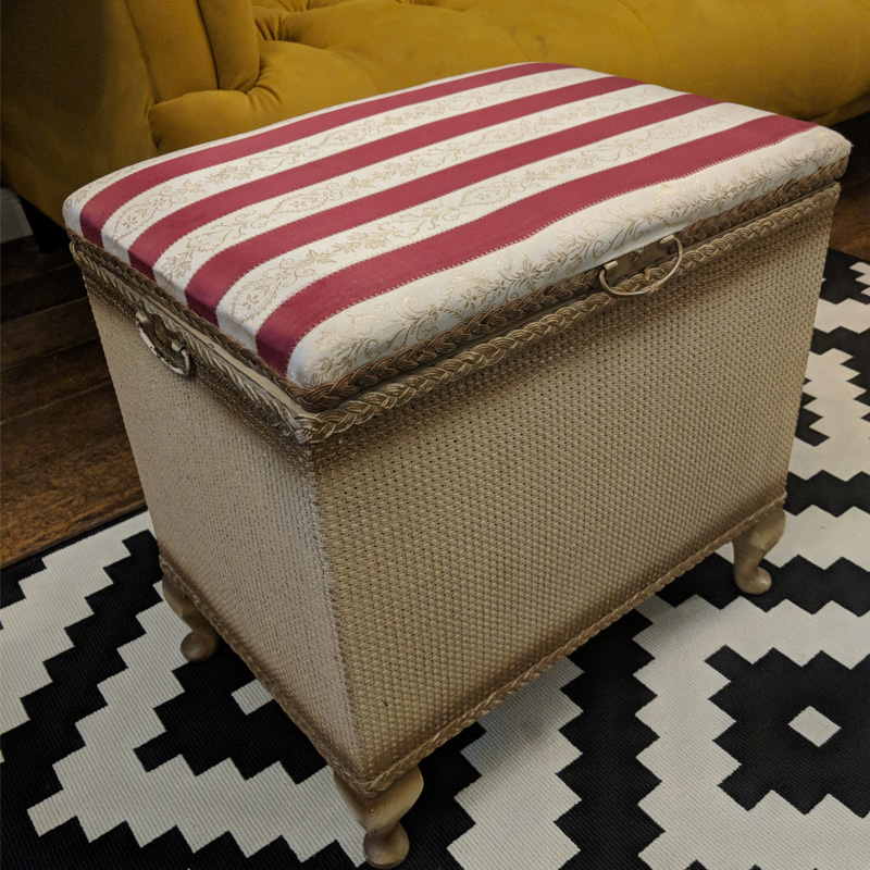 Lloyd Loom Red and White Striped Small Ottoman  1