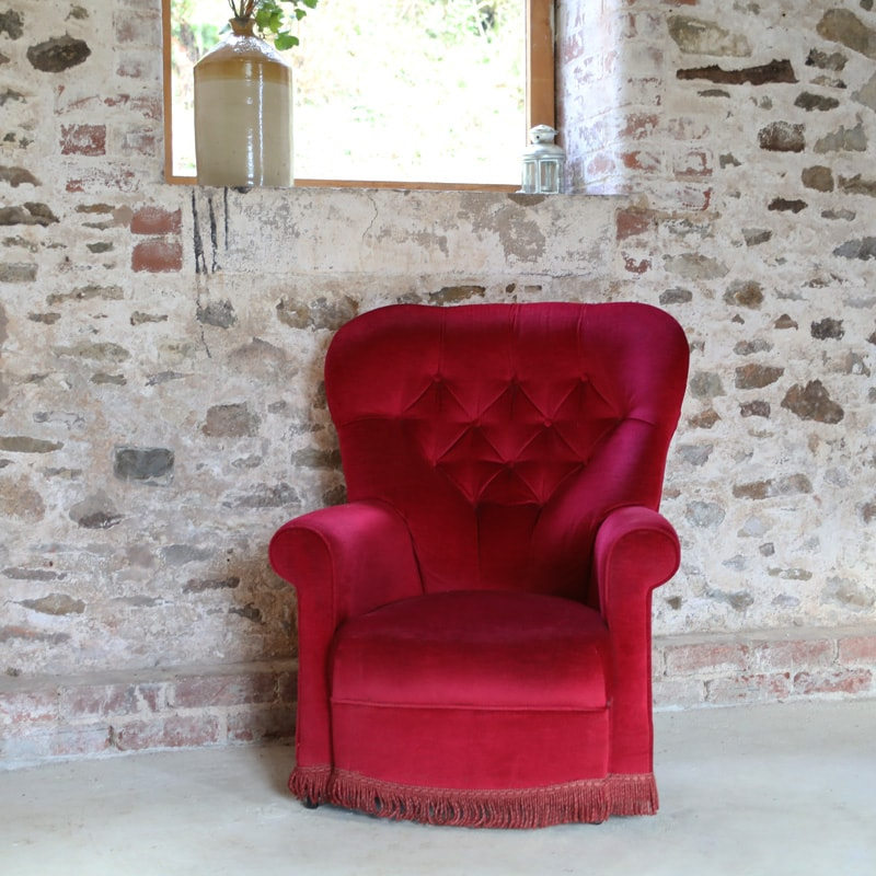 Red Spoon Back Armchair
