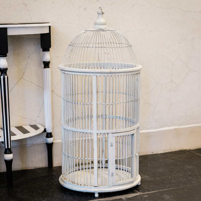 Large White Vintage Cockatiel Cage