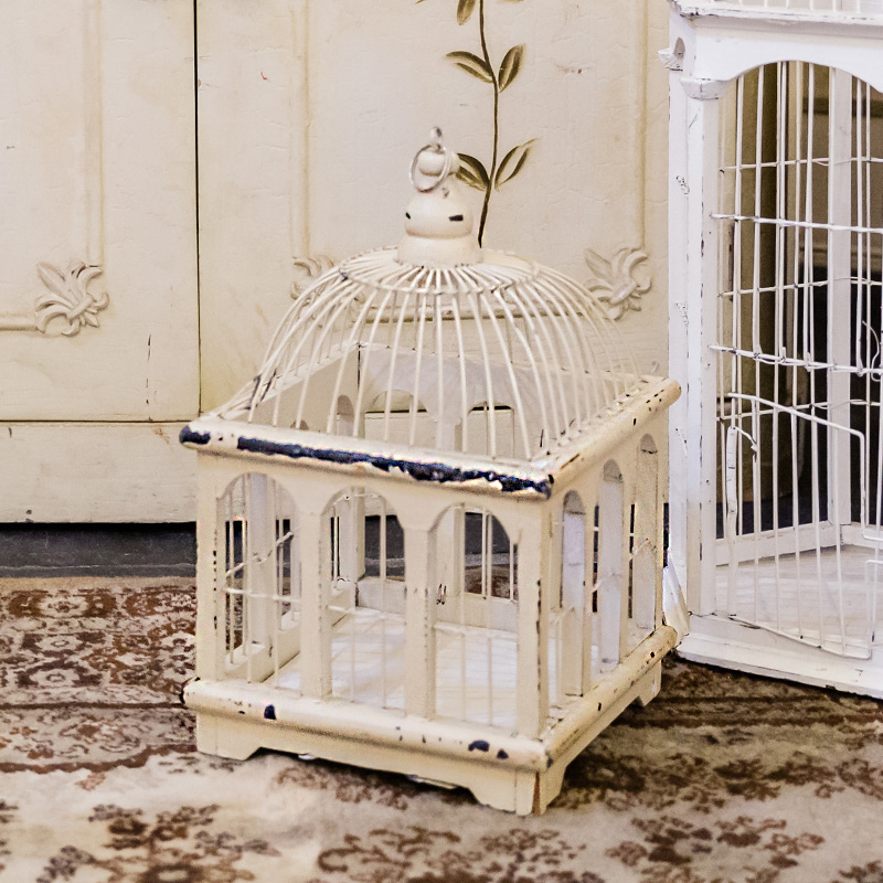 Small Rectangle Victorian Cream Bird Cage
