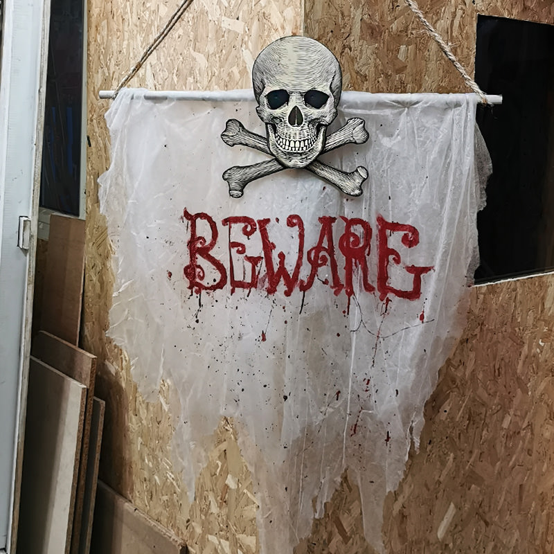 Skull and Crossbones Beware Banner