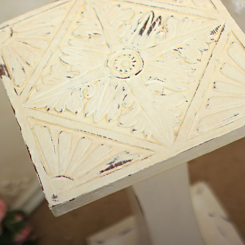 Cream Square Carved Shabby Side Table