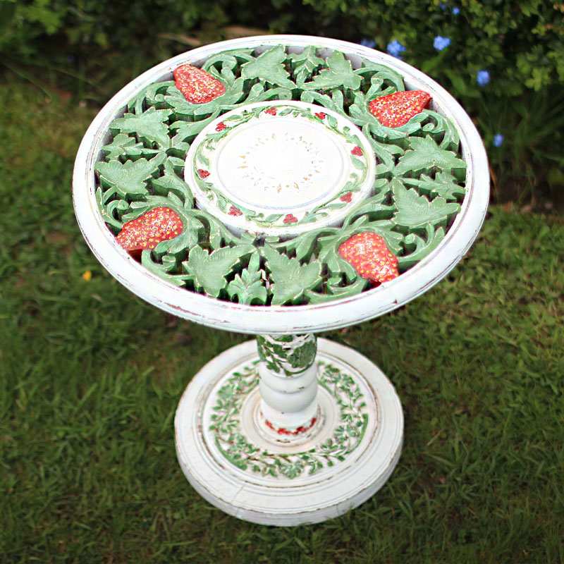 Ornate White Stand with Strawberry Detail