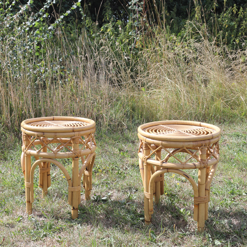 Natural Cane Short Side Table