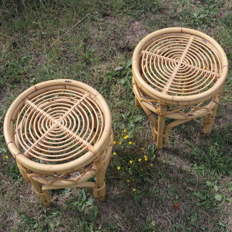 Natural Cane Short Side Table 3