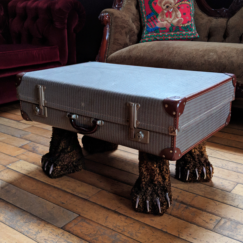 Bear Legged Vintage Suitcase Coffee Table