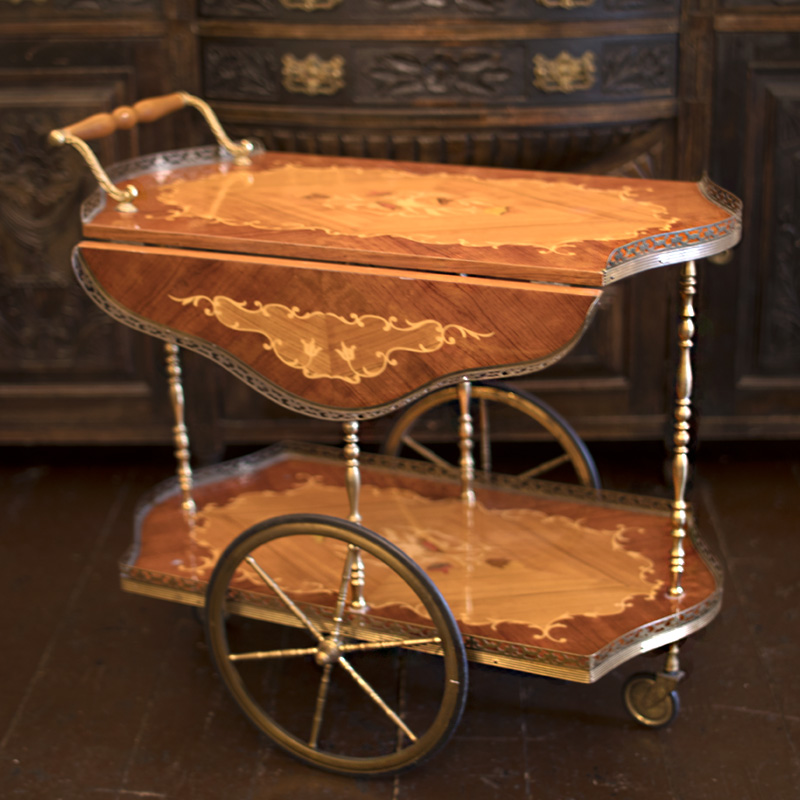 Mid Century Inlaid Bar Cart