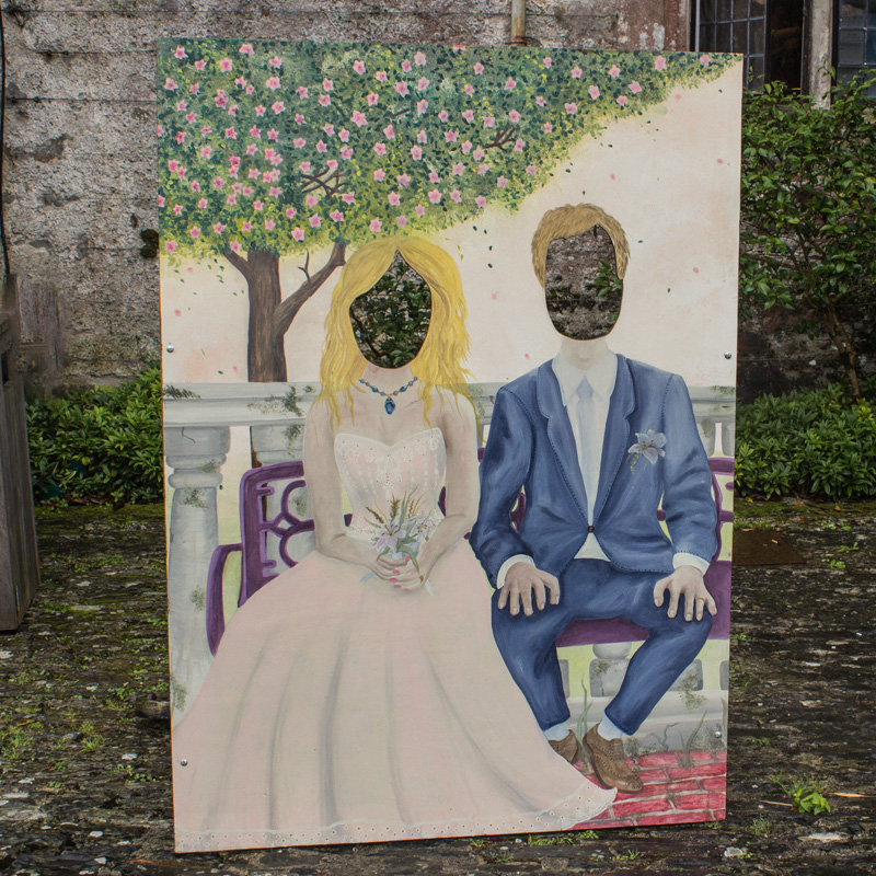 Wedding Couple On Bench Peep Board