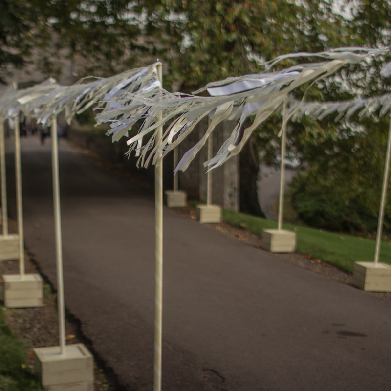 White & Cream Ribbon Bunting 5m