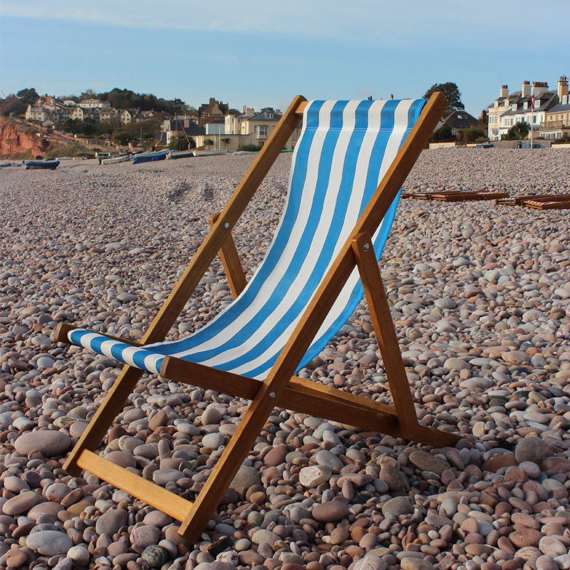 Traditional Blue Striped Deckchair