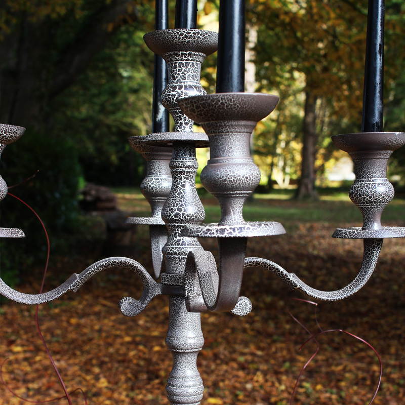 Grey Crackle Candelabra