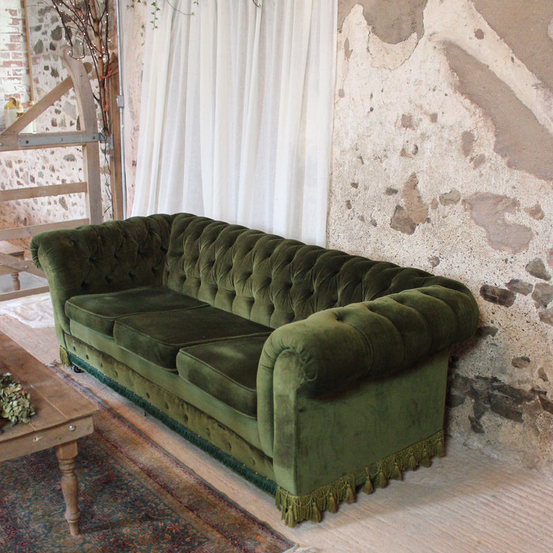 Green Velvet Chesterfield 3 Seater Sofa