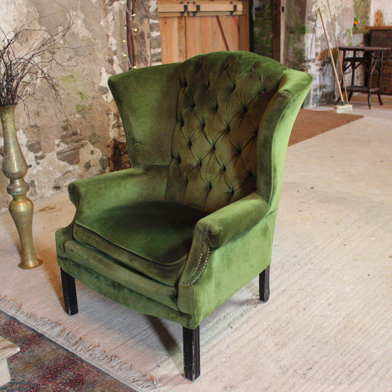 Green Chesterfield Wingback Chair with mildly worn arms