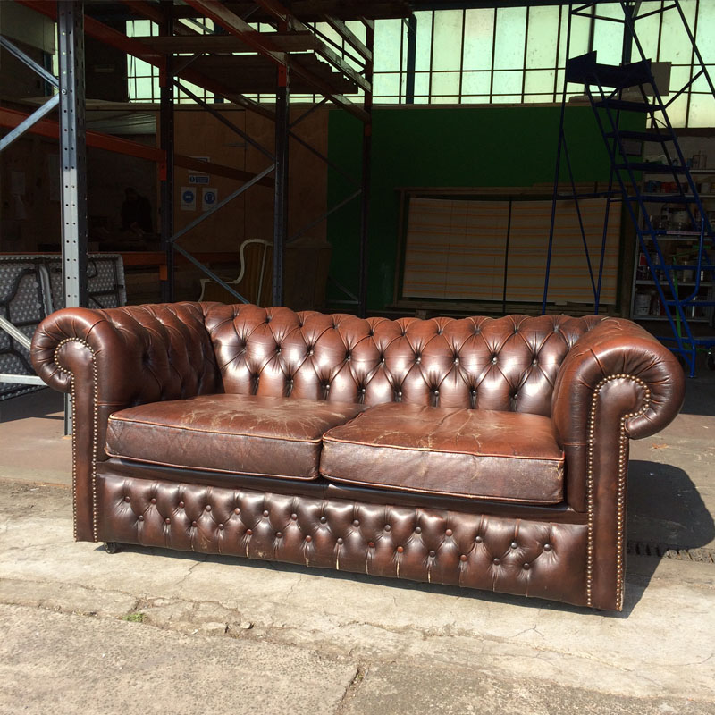 Brown Leather 2 Seater Chesterfield Sofa - worn with new seats