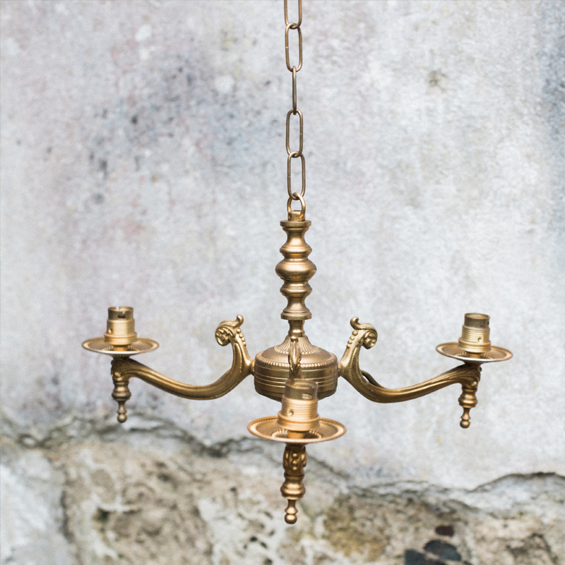 Small Brass Three Arm Candle Chandelier