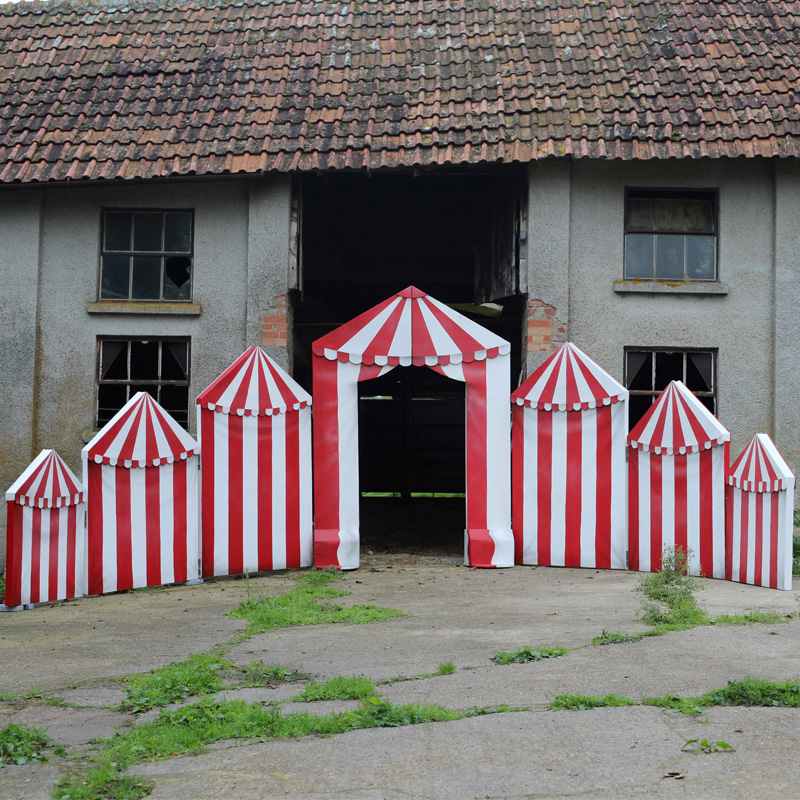 Red and White Circus Concertina Entrance