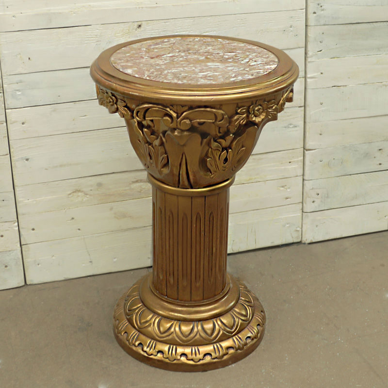 Ornate Gold and Marble Statue Column