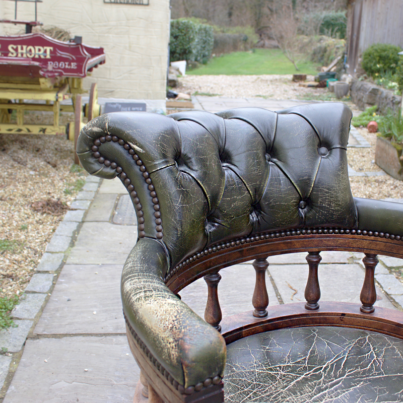 Weathered Chesterfield Captain's Chair  3