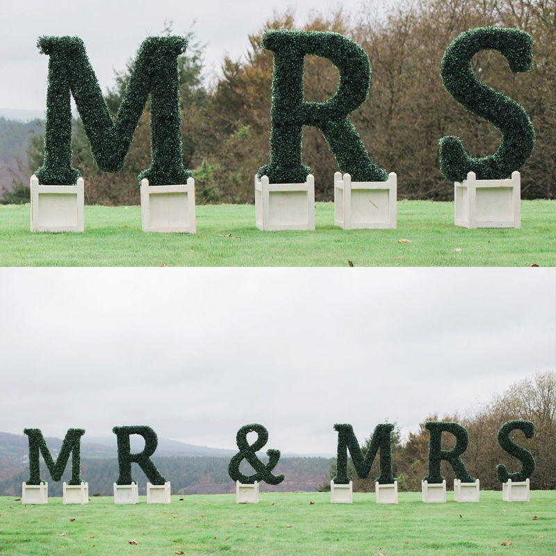 MR & MRS Topiary Letters