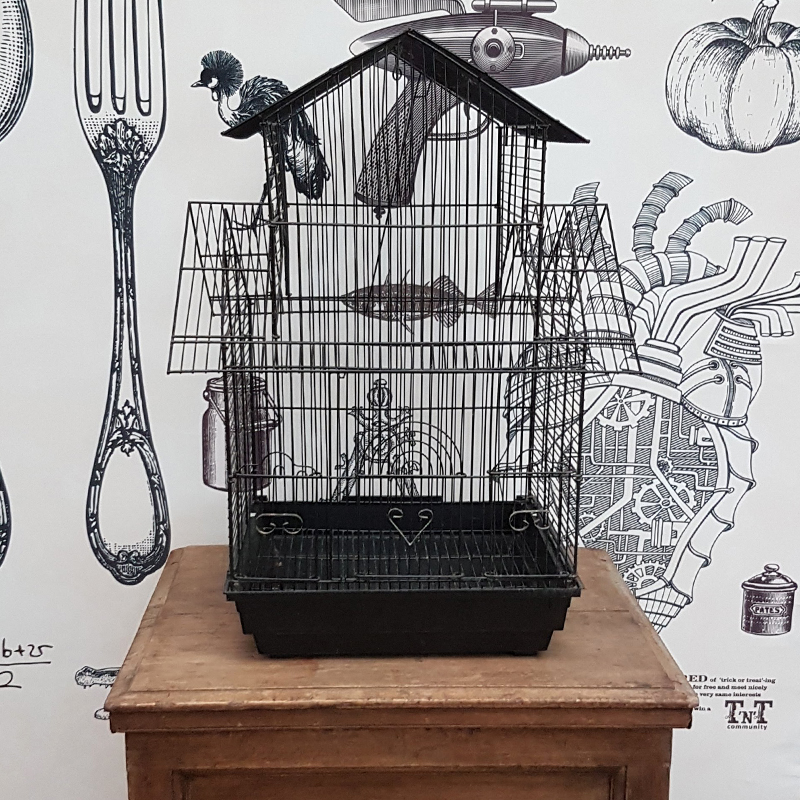 Large Black Vintage Bird House