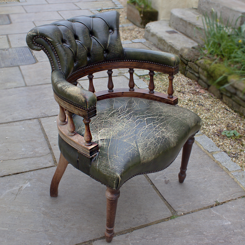 Weathered Chesterfield Captains Chair