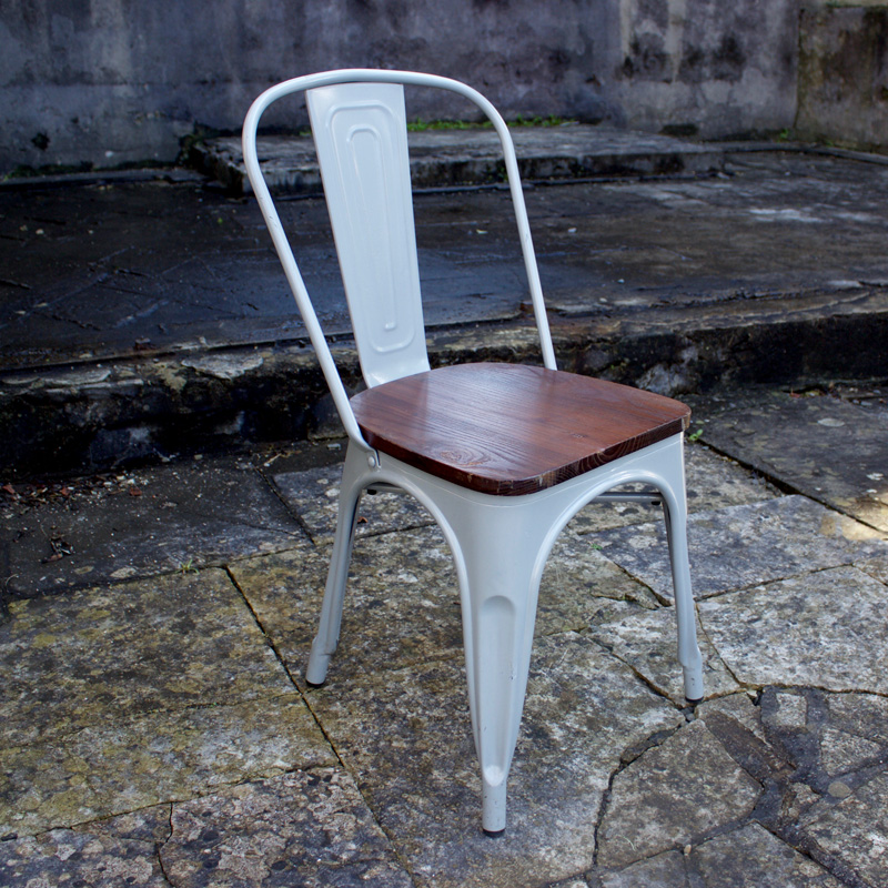 Industrial Grey and Wood Dining Chair