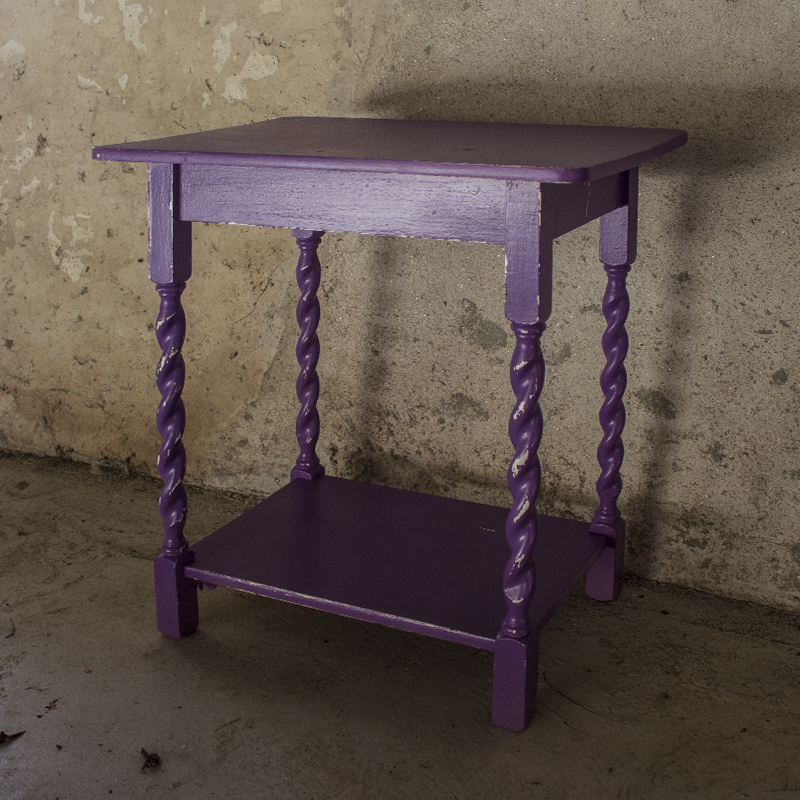 Purple Shabby Spindle Leg Table